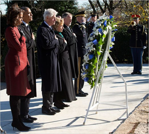 President Obama, first lady Michelle, former President Clinton and former Secretary of State Hillary Clinton pay their respects at a wreath laying ceremony in honor of President John F. Kennedy today at his gravesite at Arlington National Cemetery. Friday marks the 50th anniversary of JFK's assassination. (Photo: IIP Digital)