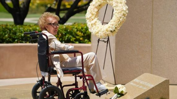 Former First Lady Nancy Reagan, almost 93, visited her husband's resting place on this, the 10th anniversary of his death.  Mrs. Reagan now leads the notable longevity of first ladies; now the oldest living, she has a ways to go to become the longest living.  (Photo: AP)
